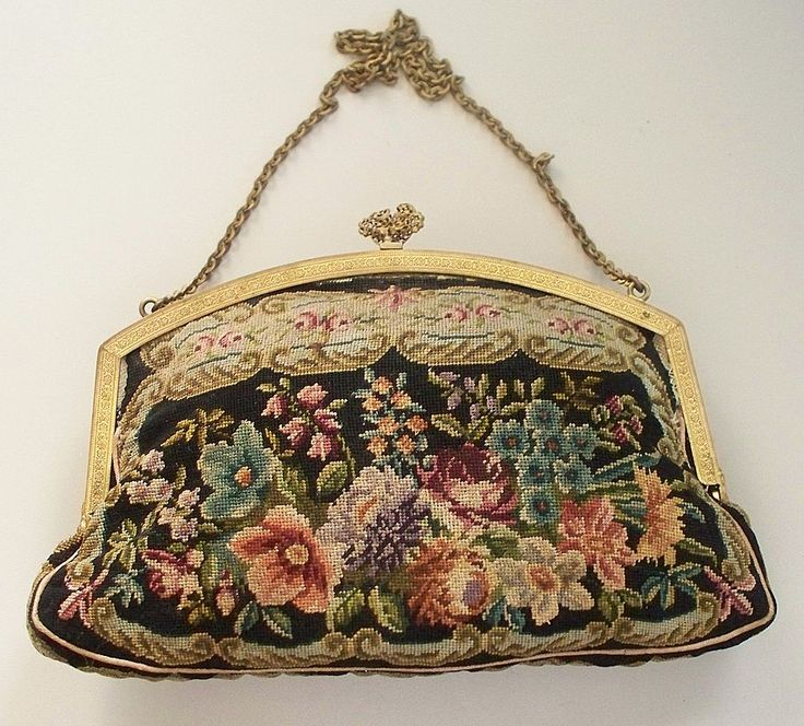 "Antique Needlepoint ""Petit Point"" Purse with Jewels Austrian from antique charm."