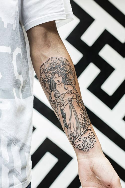 Black and white Art Deco tattoo. Well executed. Cool placement.