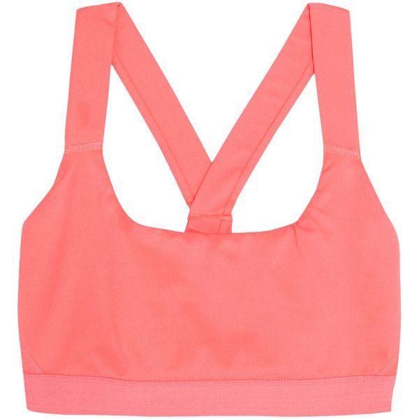 IVY PARK Stretch-jersey sports bra ($34) ❤ liked on Polyvore featuring activewear, sports bras, pink, stretch jersey, strappy sports bra, red sports bra and pink sports bra