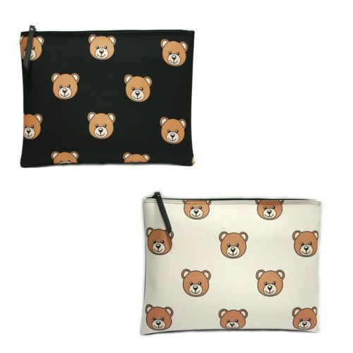 Korea-Women-BEAR-Clutch-Pouch-Bag-Handbag-Purse-Faux-Leather-Polyester-Big-Size