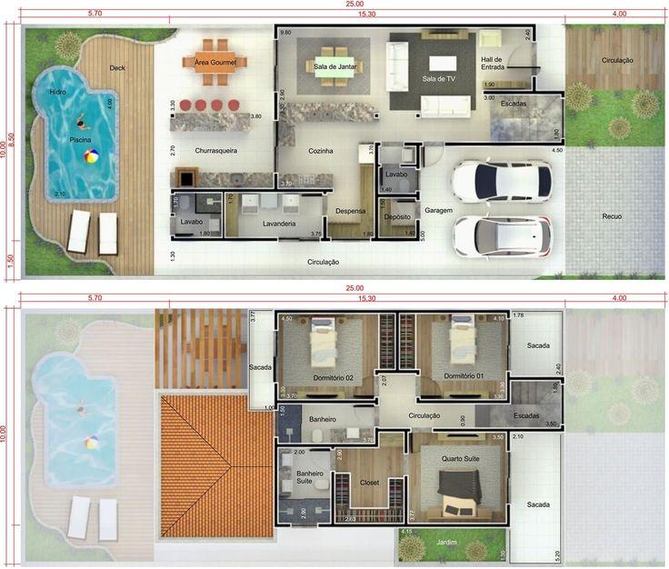 Plano de casa con piscina y terraza. Plano para terreno 10x25