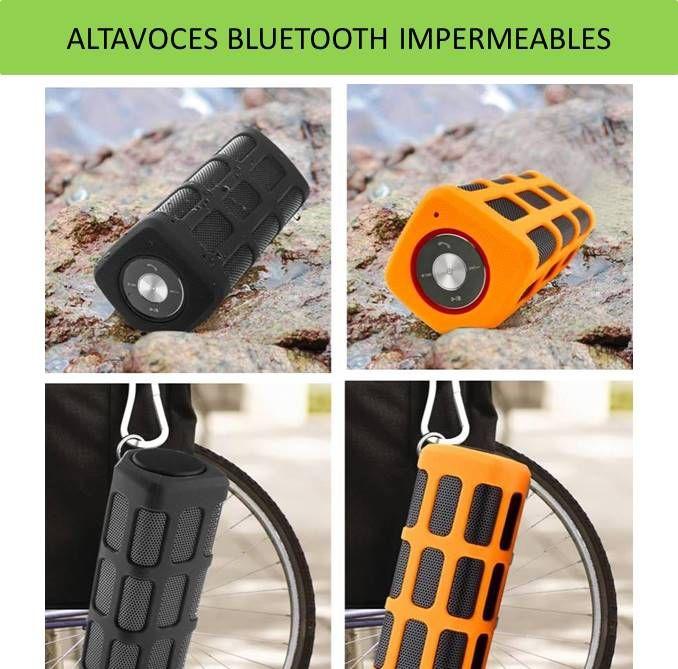 Altavoces portatiles bluetooth para moviles. Unos altavoces impermeables que s epueden mojar, son resistentes al agua. Recomendados para deportes de montaña, aventura y aire libre.