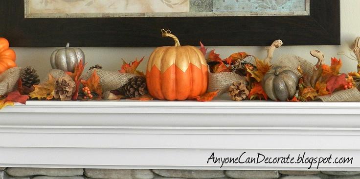 Anyone Can Decorate: Fall Mantle Decor. DIY gold pumpkin
