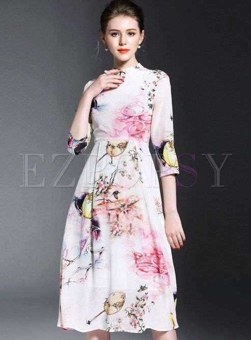 Shop for high quality Elegant Print Stand Collar Three Quarters Sleeve Skater Dress online at cheap prices and discover fashion at Ezpopsy.com