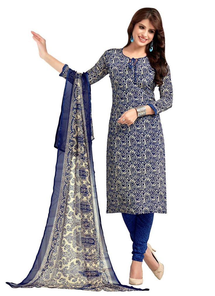 Blue Crepe Churidar Suit