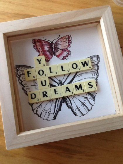 "Follow your Dreams Butterfly frame made with scrabble tiles, small wooden frame 6""x6"" ideal for birthday or christmas pressie!"