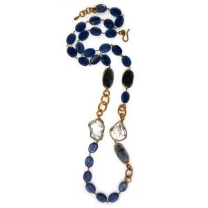Collar largo de iolitas, cianita, perlas y plata www.sanci.es