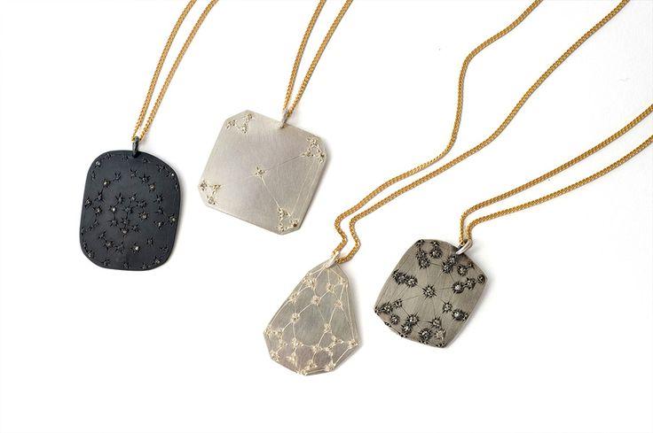 Krista McRae, Gem Catcher pendant, 9ct gold chain, oxidised sterling silver, diamonds    www.kristamcrae.com/