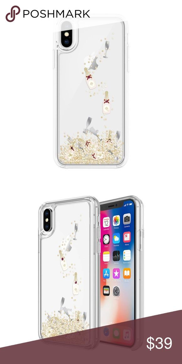 Kate Spade Liquid Glitter Case Gold Champagne Kate Spade Liquid Glitter Case Gold Champagne Bottle iPhone X New kate spade Accessories Phone Cases