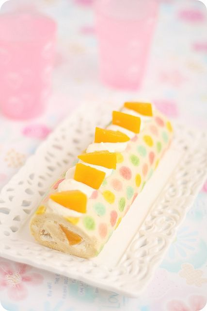 Colorful Polka-dotted Roll Cake カラフル水玉模様のロールケーキ by bossacafez, via Flickr
