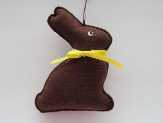 Felt Chocolate Bunny Ornament - Chocolate Bunny - Bunny Decoration - Chocolate Easter Bunny -Easter Ornament-Easter Decorations -Felt Bunny