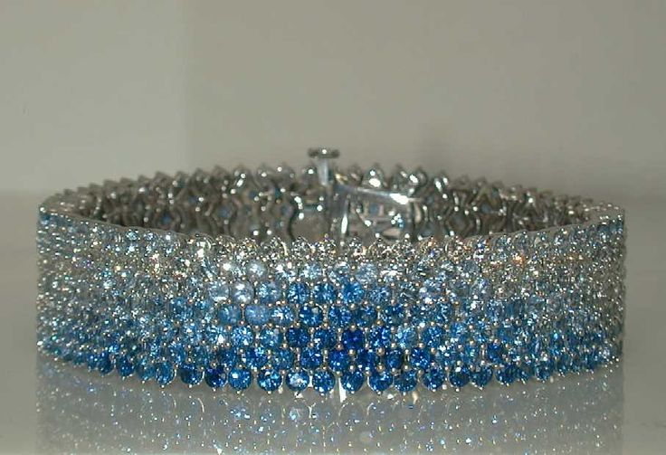 Mark Patterson Graduating tones of Sapphire and Diamond Wave Bracelet from the Intensity© Collection