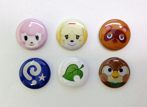 Animal Crossing New Leaf 1 Button Set by Rosewine on Etsy