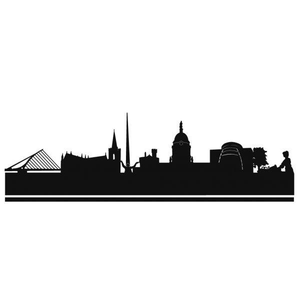 Skyline Silhouette of Dublin. The capital city of Ireland.