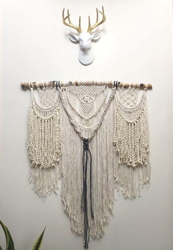 Extra Large macrame wall hanging curtain modern by NiromaStudio