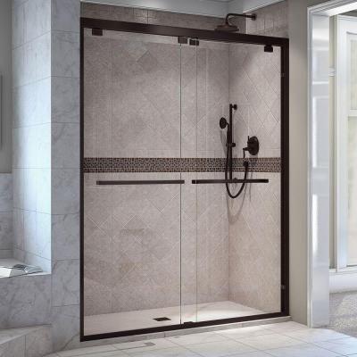 dreamline encore to w frameless oil rubbed bronze sliding shower door at loweu0027s the dreamline encore bypass sliding shower or tub door has a modern