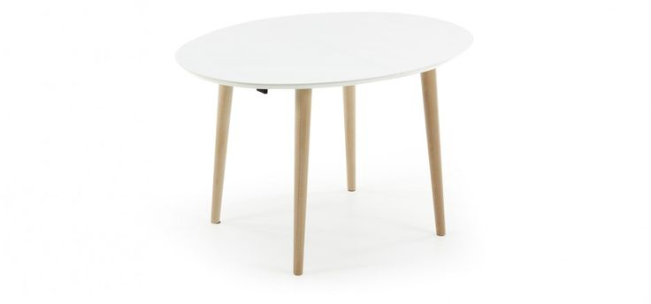 Table oqui ronde extensible naturel et blanc moderne for Table extensible kavehome