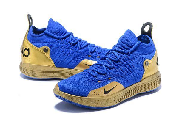 2018 New Nike Zoom KD 11 Royal BlueMetallic Gold in 2019