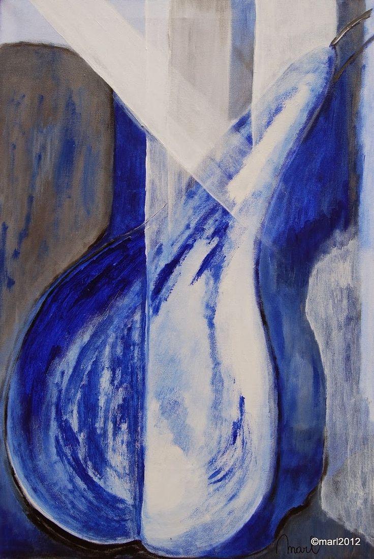 Kom binnen in de Kunstgalerie van Marl.Decoratieve schilderijen: Peren