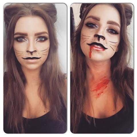 Cute or scary halloween cat makeup