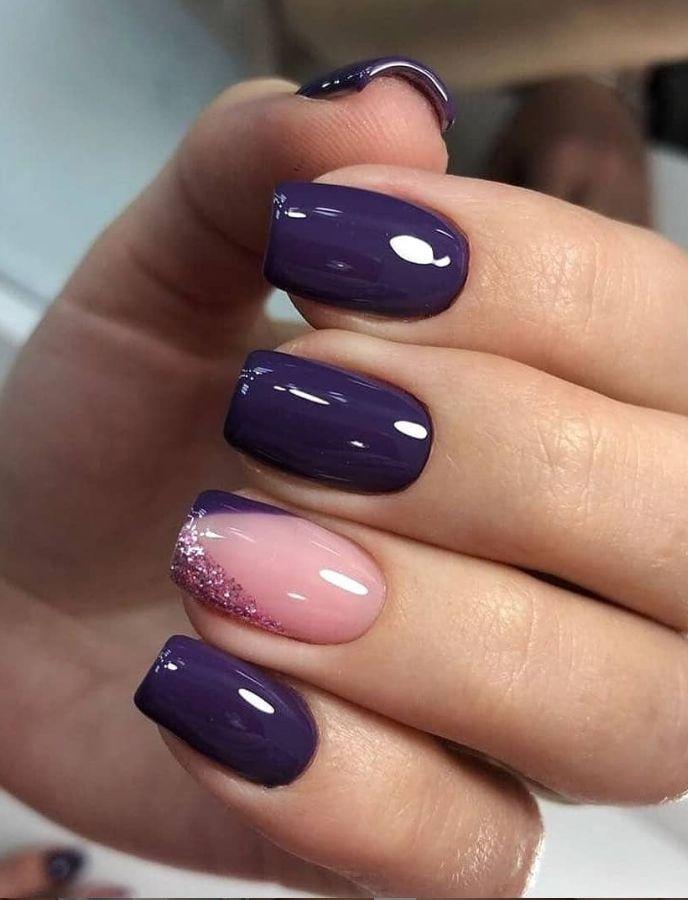 66 Natural Summer Nails Design für kurze quadratische Nägel – – Purple Nails