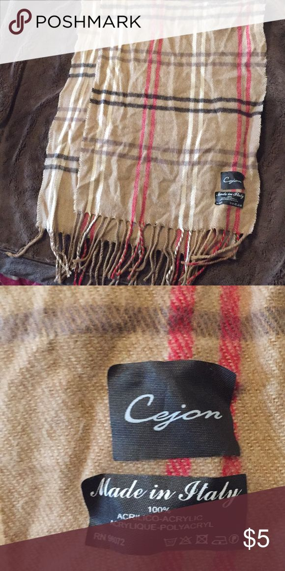 Check print lightweight scarf Burberry-esque check print scarf. Cejon brand. Made in Italy. Accessories Scarves & Wraps