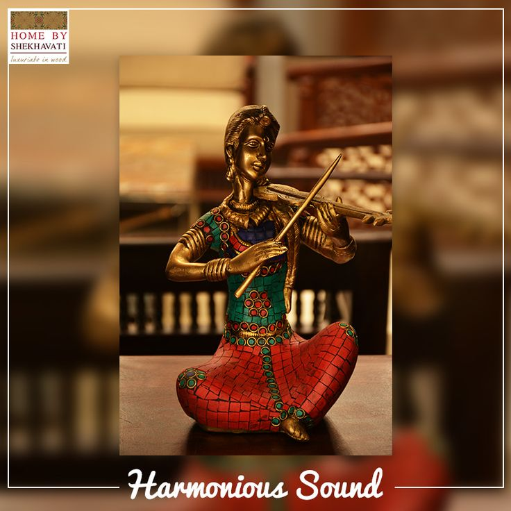 Music helps in soothing one's mind. Bestow this beautiful statue of a woman with a violin to your loved ones and infuse elegance to their space. To buy this beautiful piece from Home By Shekhavati, contact: +91-9414100611.