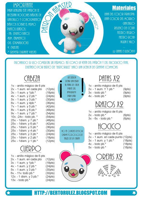 Hamster Bertoso Amigurumi - Patrón Gratis en Español aquí: http://bertorulez.blogspot.com.es/2015/03/patron-hamster-bertoso-gratuito.html