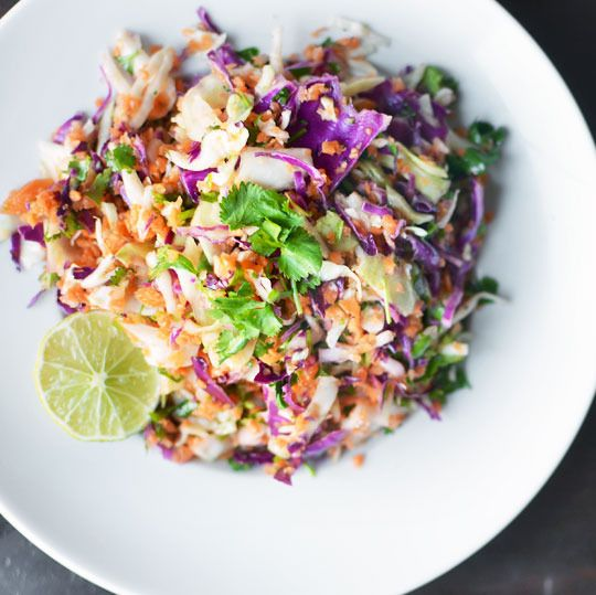 Recipe-tri-color-slaw-with-lime-dressing-www.thekitchn.comFish Tacos, Summer Side, Side Dishes, Limes Dresses, Try Colors Slaw, Dresses Recipe, Potlucks Recipe, Pulled Pork, Tricolor Slaw