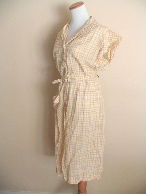 1950s Plaid Dress by Hattie Leeds / Sheer Yellow by miskabelle $30