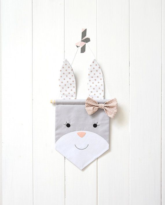 Wall Banner Wall Hanging Banner Flag Canvas Wall Banner Custom Banner Bunny Wall Banner Wall Decor Nursery Decor Pennant Tapestry Garland