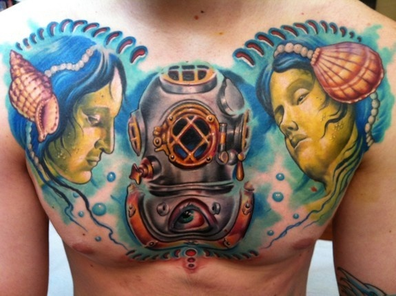 Nautical Shell Helmet Tattoo By Cory Norris Of Grass