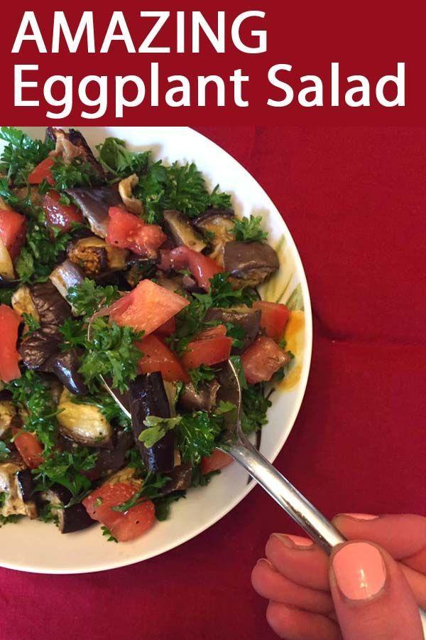 Roasted Eggplant Tomato Salad Recipe Salad Recipes Delicious Salads Eggplant Salad