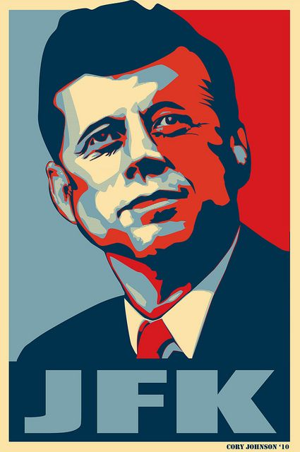 There have been many Shepard Fairey inspired 'hope' posters. When I saw the original Obama Hope poster I recalled this iconic image of JFK immediately. Same look, same angle, and the similarities of these politicians to inspire positive change was ob . !!!