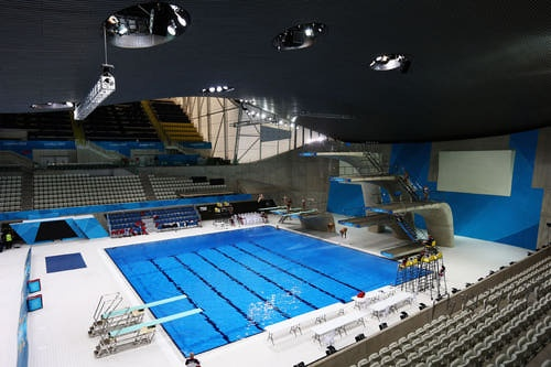 A general view of the Aquatics Centre as the Great Britain diving team practice at the Aquatic Centre during previews ahead of the London 2012 Olympic Games at Olympic Park on July 17, 2012 in London, England.