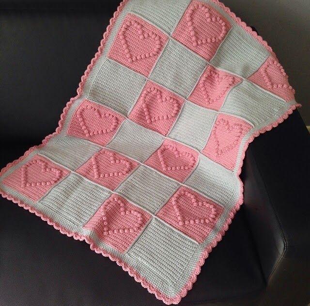 crochet bobble heart blanket free pattern, gehaakte hartjes deken gratis vertaald patroon: