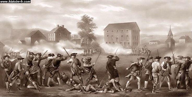 La bataille de Concord et Lexinton a eu lieu le 19 avril 1775. Elle a débuté la guerre de l'Indépendance des États-Unis dans un combat qui confronte des troupes britanniques et les minutes men. Cette guerre confronte la Grande-Bretagne et ses 13 colonies. Les colonies en ont assez des taxes et autres actions que la couronne leur impose sans qu'ils aient de droit de veto. Elles se sentent unies et loin de la Grande-Bretagne.
