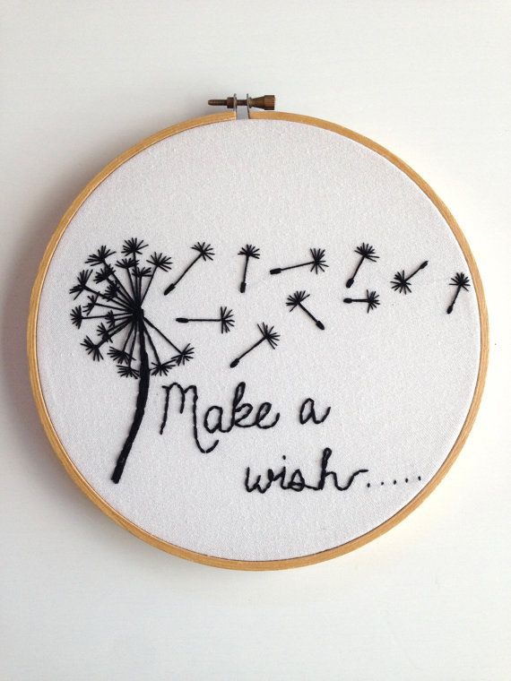 Hand Embroidered Hoop Art Make a Wish Dandelion