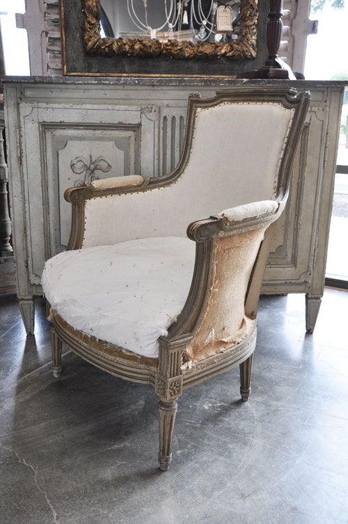 P02-004P - Pair Louis XVI Style Bergere with old painted finish, end 19th Century. 25