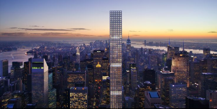 432 Park Avenue | Rafael Viñoly Architects | South view at dusk; rendering: dbox