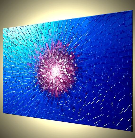 """Original Metallic Blue Painting, Abstract Textured Painting, Original Reflective Palette Knife Art by Lafferty - 24 X 36"""""""