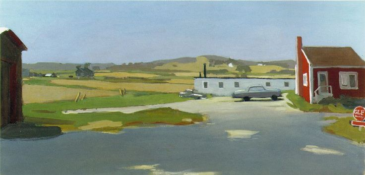 Fairfield Porter artist | Fairfield Porter, Long Island Landscape With Red Building , c. 1962