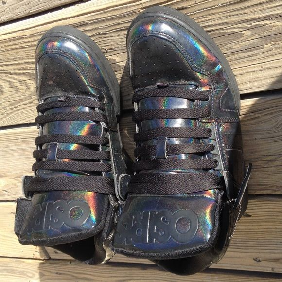 "men's Osiris oil slick skate shoes! men's black metallic ""oilslick"" skate shoes! worn twice. OSIRIS Shoes Sneakers"