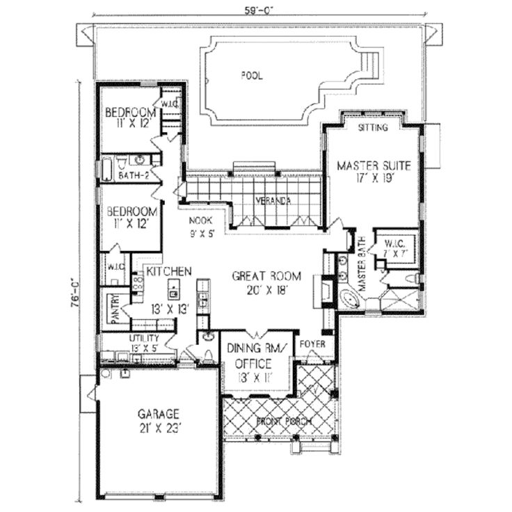 Spanish colonial home floor plans One story colonial house plans