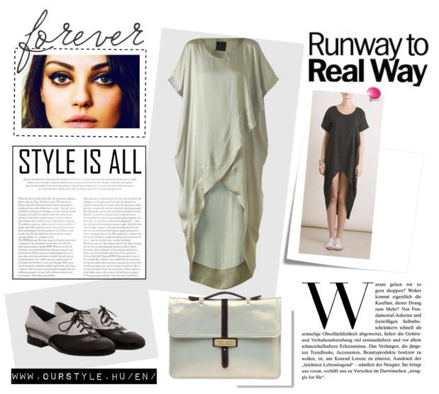 Ourstyle on Polyvore    Grey dress - NUBU  Black dress - NUBU  Shoes - RekaVago  Bag - AnnaAmélie