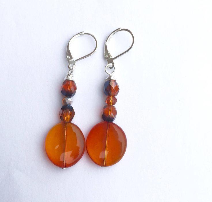 New in our shop! Orange Dangle Earrings, Fall Colors Halloween Earrings, Sterling Silver Leverback Earrings https://www.etsy.com/listing/565685045/orange-dangle-earrings-fall-colors?utm_campaign=crowdfire&utm_content=crowdfire&utm_medium=social&utm_source=pinterest