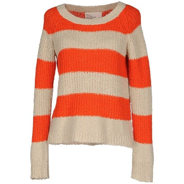Leon & Harper Long Sleeve Jumper ($28) ❤ liked on Polyvore featuring tops, sweaters, shirts, orange, long sleeve cotton shirts, orange striped shirt, orange shirt, orange sweaters and shirt sweater