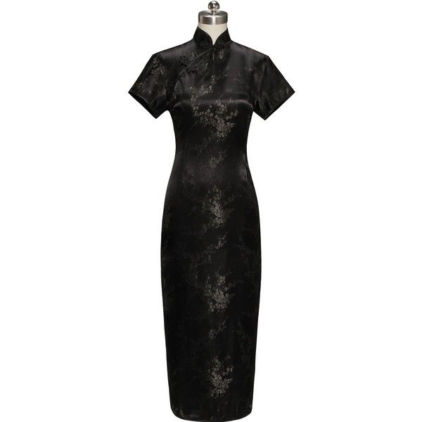 Periwing Traditional Ink Black Satin Plum Blossom Short Sleeve Chinese... ($20) ❤ liked on Polyvore featuring dresses, gowns, short sleeve prom dresses, floral ball gown, floral gown, plum prom dresses and floral evening gown