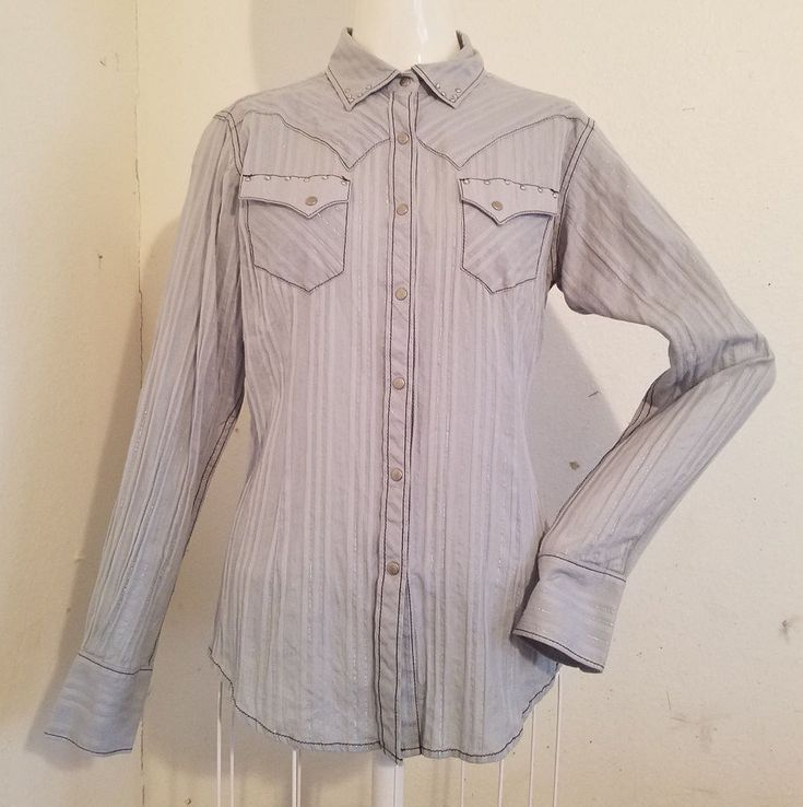 S Ariat Blue Gray/Brown Snap Up Embroidered Fitted Western Cowgirl Shirt  #Ariat #Western #Casual