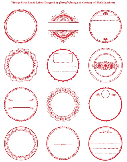 These amazing round vintage red bordered labels by Cathe Holden are free to download. Download here: http://blog.worldlabel.com/2011/round-labels-in-a-vintage-style-design.html